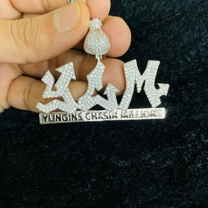 Gold Finish Yungins Chasin Millions Pendant wchain